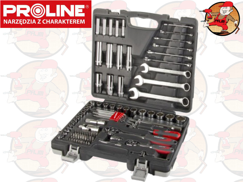 8da1efe83a525 58092 Zestaw kluczy nasadowych 1 4 i 1 2cala 4-27mm i płasko-oczkowe 6-19mm  92el Proline